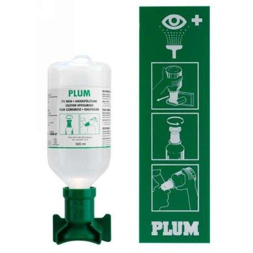 PLUM A/S 4611 Augenspülstation m.500ml m.Wandhalter m.Piktogramm PLUM DIN12930 (Preis Der Kontaktlinsen)