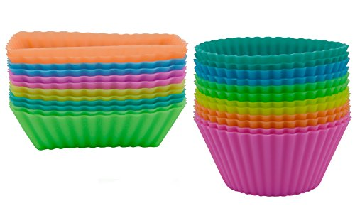 24-pack-ipow-silicone-bakeware-baking-muffin-cups-reusable-cupcake-liners-cases-moulds-sets-non-stic