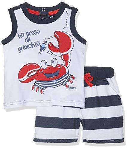 Chicco Baby-Jungen Set Canotta + Pantaloncini Top, Blau (Bianco E Blu 038), 68 (Herstellergröße: 068)
