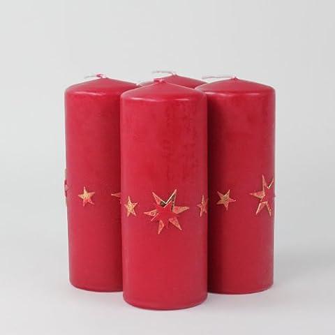 Set de velas de adviento en forma de velas de luz de velas de Laura, 4 unidades 150/60 mm colour rojo y oro