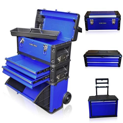 US PRO Tools Blue Work Center Plastic Steel Mobile Rolling Chest Trolley Cart cabinet 3 IN 1 Tool Box Wheels by us pro tools -