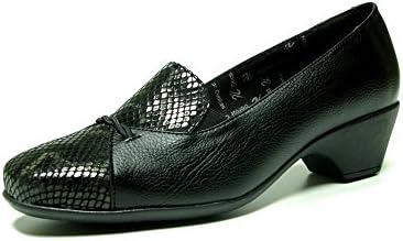 Zapatos salón cómodos mujer DOCTOR CUTILLAS - Calf color negro combinad0 con gris - 20740 - 69