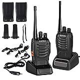 LESHP Walkie Talkie Juego de 2 (16 Canales, VHF/UHF/FM 400-470 MHz, 105 CDCSS, Alcance de hasta 6 km, Indicador de Batería Baja ) Transceptor Recargable