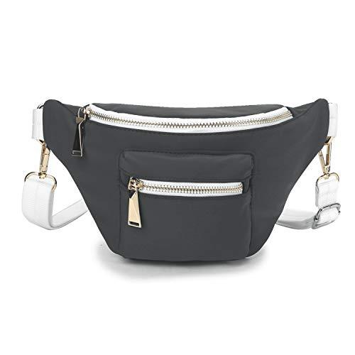 Wind Took Mode-Hüfttasche Kleine Umhängetasche Damen Crossbody Tasche Brusttasche Sporttasche - Hochwertige Hipster Hip Bag für Alltag, Festival Grau