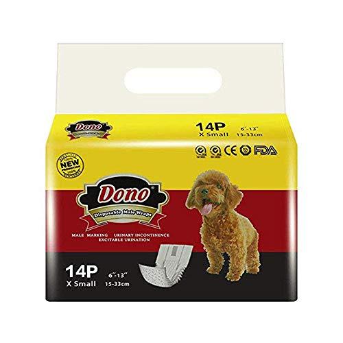 Pañales desechables para perros DONO Paquetes para perros machos Pañales suaves para mascotas masculinos absorbentes, pañales extra pequeños con indicador de humedad 14PCS