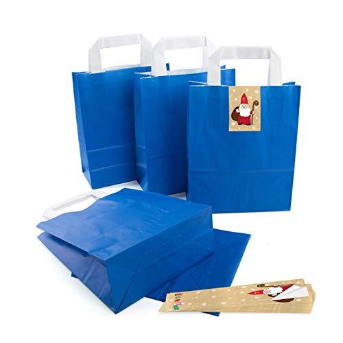 25 kleine ROYAL-blaue Papier-Tüte Geschenk-Tasche mit Henkel Boden 18 x 8 x 22 cm + 25 Aufkleber Heiliger Nikolaus Santa beige rot weiß Weihnachten Geschenkverpackung SET Kraftpapier Be-Füllen bio