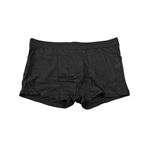Babysbreath Mens Underwear Slips Mesh Hosen Weiche Taille Boxer Slips Unterwäsche Schwarz Xxxl