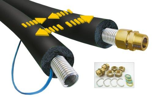 Preisvergleich Produktbild 25 Meter TwinFlexx Solarrohr DN20,  20mm EPDM 150 Isolierung,  Solarleitung,  Edelstahl-Wellrohr