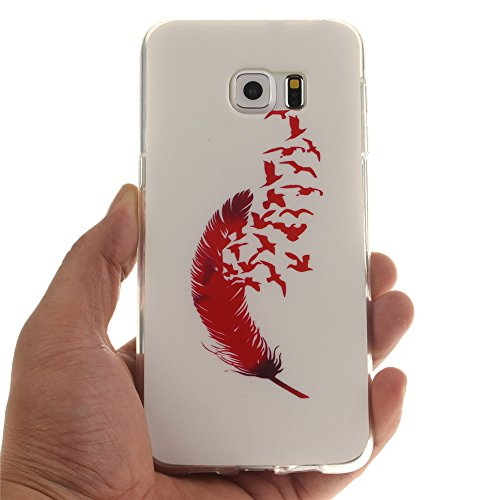 Samsung Galaxy S6 Edge Plus hülle MCHSHOP Ultra Slim Skin Gel TPU hülle weiche weiche Silicone Silikon Schutzhülle Case für Samsung Galaxy S6 Edge Plus - 1 Kostenlose Stylus (Löwenzahn sich verlieben  Feder und Flying Birds (Feather and Flying Birds)