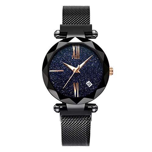 CARDMOE Starry Sky Luxusuhren, Diamond Cutting Starry Sky Dial Mesh Riemen Armband Armbanduhr für Frau (2#)