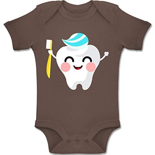 Shirtracer Anlässe Baby - Zahnfee mit Zahnpasta - 6-12 Monate - Braun - BZ10 - Baby Body Kurzarm Jungen Mädchen