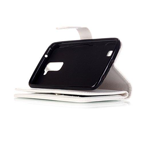 PU Coque LG K10 , Multifonction Case (9 fente) Wallet Cover Etui en cuir Étui de protection flip Wallet stand Cover avec des fentes de cartes pour LG K10 +Bouchons de poussière (8MX)