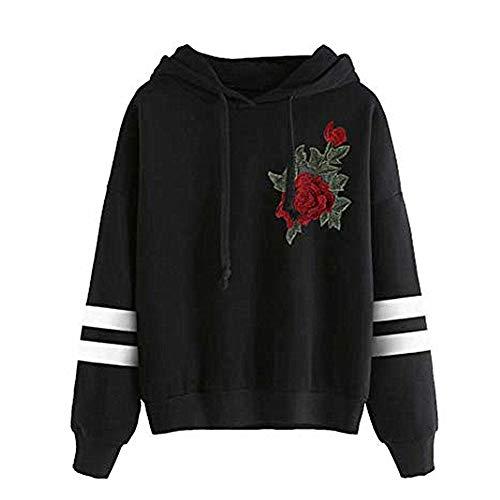 Morbuy Damen Langarm Kapuzenpullover, Damen Fashion Herbst und Winter Tunnelzug Langarm Pullover Hoodie Rose Bestickt Blumen Vintage Loose Chic Elegante Sweatshirt (S, Schwarz)