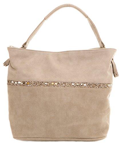 CAPRIUM Hobo Bag, Handtasche mit Quer verlaufendem Steine, Schultertasche, Damen 000F5929 (Grau)