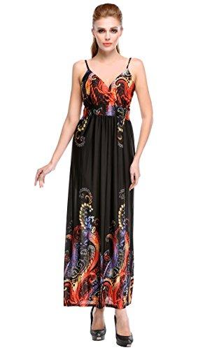 CRAVOG Elegante Phönix Sommer Kleider Damen Ballkleider Lang Ärmellos Abendkleider V Kragen Partykleider Sexy Cocktailkleider Schwarz