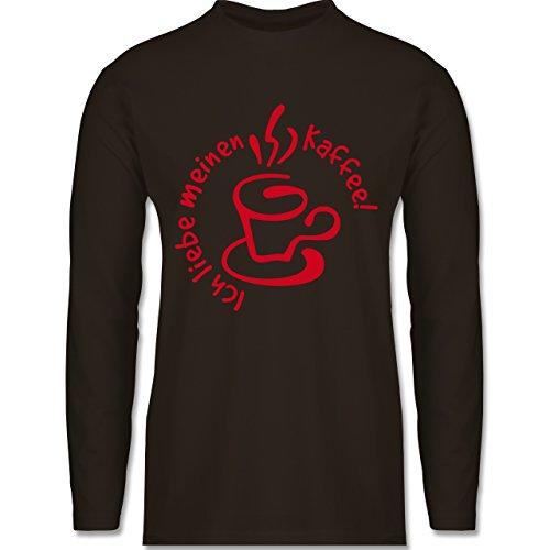 Shirtracer Küche - Ich Liebe Meinen Kaffee - Herren Langarmshirt Braun