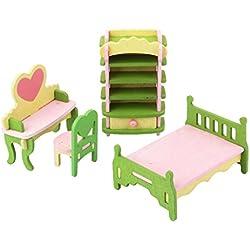 Conjunto de Muebles Dormitorio Juetege Madera para Casa de Muñecas de Niños