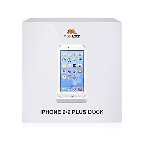 Station d'accueil Mobi Lock Blanche pour Apple iPhone 6, 6S, 6 Plus, 6S Plus avec le Port Compatible 8 Broches pour le Chargement, la Synchronisation et le Transfert de Données