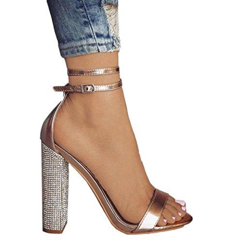 Scarpe Estive Donna,Scarpe Eleganti,Scarpe Sneaker,Scarpe Sportive,Yanhoo®Moda Donna Fibbia Cinturino Ladies Caviglia Alti Tacchi Partito Singel Shoes (34=Asia 35, Oro)
