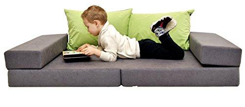 COCO-baby Kindersofa Schaumstoff Spielsofa mit Bettfunktion 3in1 Matratze Spieltisch Sofa Spielzeug (A1 Grey-Green, 160 x 80 x 12 cm)