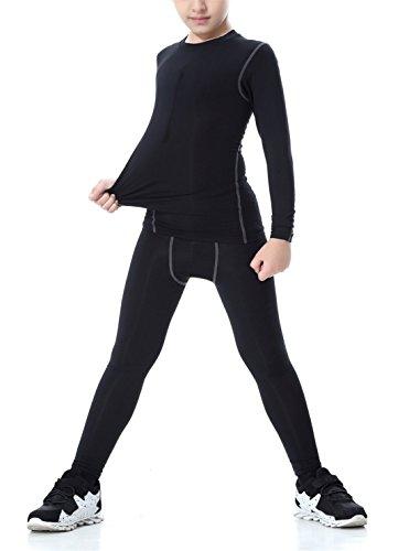 QCHENG Ski Thermo-Unterwäsche Set für Kinder langärmligem Oberteil+langer Unterhose Atmungsaktives Feuchtigkeitstransport (schwarz 120) | 00653445277638