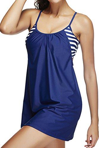 Ecute Damen Badeanzug mit Rock Bauchweg Badekleid Schwimmanzug Große Größen Bademode Marine