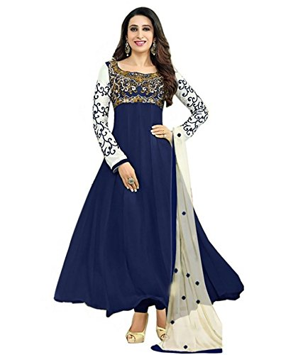 Womens\'s And Girl\'s New Georgette Fabric Anarkali Dress Material(se2 5007 Blue_Free Size)