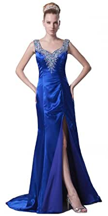 herafa p31805-8 Robes de soirée élégant Col V Sans manche Perles Délicates Maxi tribunal Gaine Bleu