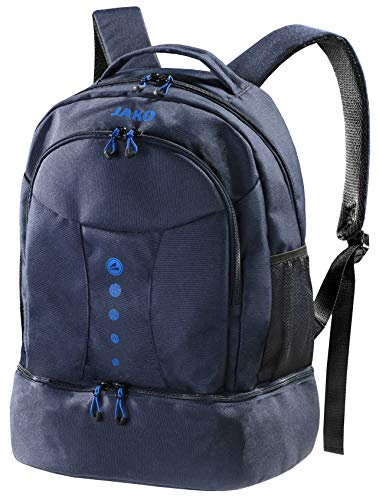 Blauer Rucksack Striker von Jako - Das Platzwunder ist der ideale Wanderrucksack, Schultasche oder Aktentasche - Dieser Freizeitrucksack passt Immer