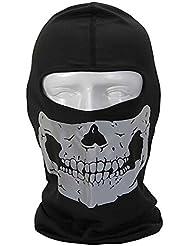 Lmeno Unisex Cs pasamontañas dustproof & windproof cara completa cráneo esqueleto mask mascara facial motocicleta snowboards deporte al aire libre mascarilla - color reflectante y multifunción noctilucentes - Plata