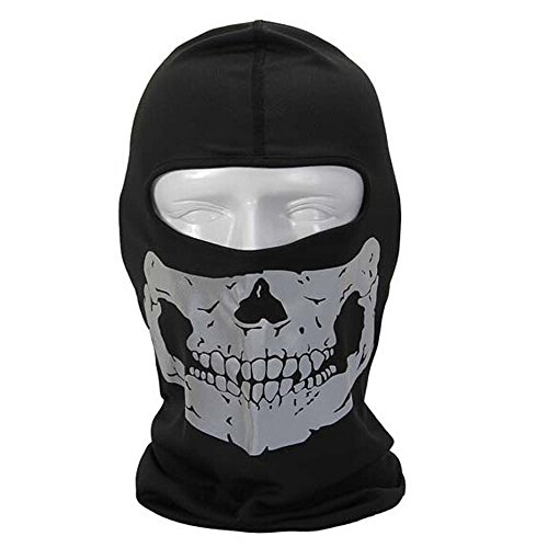 Price comparison product image Sijueam Balaclava Mask Ghost Skull Neck Face Thermal Under Helmet Protection Wind Stopper Quick Dry Light Reflection Warmer Mask Outdoor Sport Ski Cycle Motorcycle Bike CS shooting, Silver