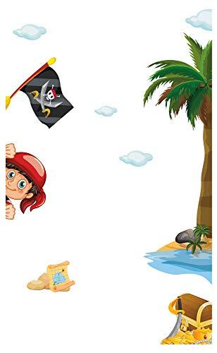Wandtattoo Kinderzimmer Möbelsticker Set Pirat zum Kleben Möbelaufkleber