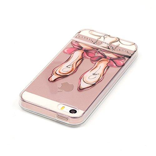 Aeeque® Souple Coque pour iPhone 5S 5 SE, Ultra Slim MinceThin Flexible Caoutchouc TPU Silicone élégant Bleu Fleur Blanche Dessin Case Cover Etui de protection Housse Bumper Motif #16