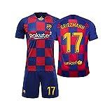 QQT Fußball Trikots Barcelona 17th Griezmann Heimtrikot Kinder und Erwachsenenkleidung Anzug (Hemden + Shorts)