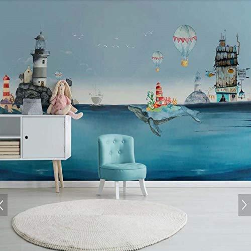 Pmrioe Europa Neuheit Bunte Mittelmeer Ozean Wal Kinder Schlafzimmer Tapete Dekoration Malerei Tapete Mural, 150X105 Cm (59,1 Von 41,3 In)