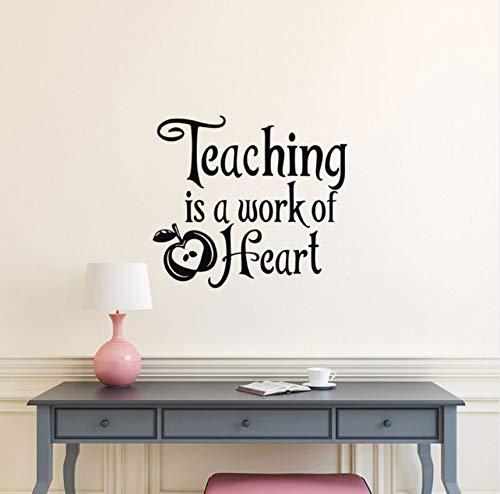 Pbbzl Lehre Ist Eine Arbeit Des Herzens Vinyl Wall Decal Schule Lehrer Anerkennung Geschenk, Lehrer Geschenke, Lehrer Klassenzimmer Dekor 47X42Cm