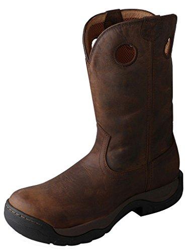 Twisted x uomo azzurro Ruff stock cowboy Boot Square toe–MRS0042, marrone (Brown Distressed/Blue), 48 2E EU