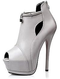 LGK&FA Zapatos de Tacón Extra Alto, Zapatos Finos, Impermeables, Lentejuelas de Mesa, Zapatos de Mujer, Gris,...
