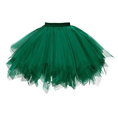 Röcke Kostüm Mit Puffy - Karneval Damen 80er Übergröße Schwärzlich Grün Puffy Tüllrock Tütü Röcke Tüll Petticoat(MEHRWEG)