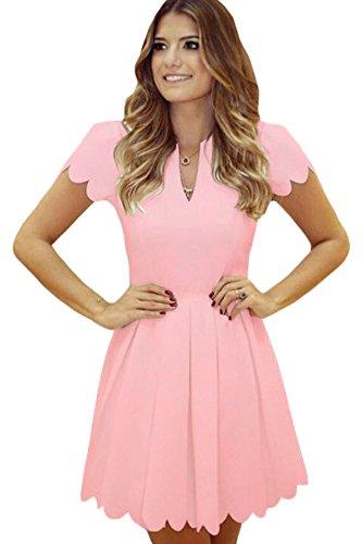 Damen Pink Scallop Edge Skater Dress Club Summer Wear Casual Party Dance Wear Größe XL UK 14EU 42 (Pink Scallop)