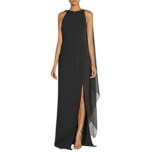 VEMOW Heißer Elegante Damen Cocktailkleid Frauen Lange Mantel Split Kleid Chiffon Stitching Party Geschäft Kleid(Schwarz, EU-38/CN-L)