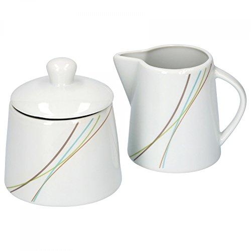 Van Well aliha 2 pièces Set sucrier avec couvercle, ø 95 mm + Pot à Lait, 220 ml, Linie élégant Porcelaine de Marques