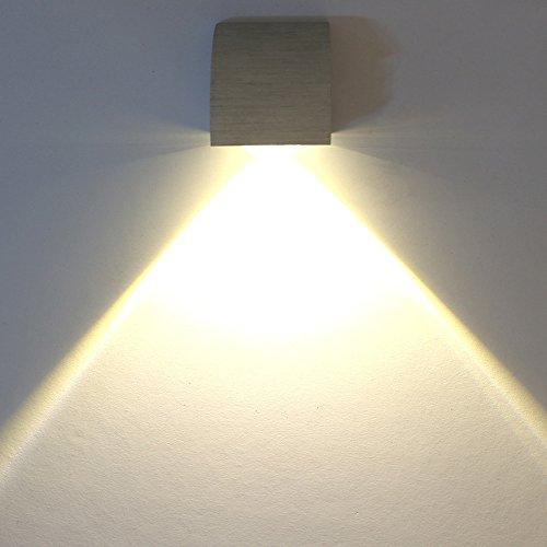 LED 3W modern design Wandleuchte Wandlampe Wandleuchten Wandlampen Flurlampe Wandbeleuchtung Designerlampen innen Aluminum (Warmweiß 3W)