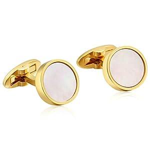 Daesar Gold Manschettenknopf für Hochzeit Poliert Rund Herren Manschettenknöpfe Hemd Edelstahl mit Box
