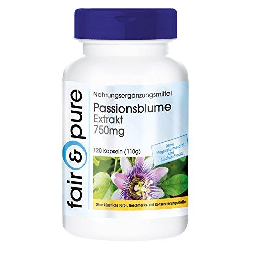 Passionsblume Extrakt 750mg - vegan - hochdosiert - ohne Magnesiumstearat - 120 Passionsblume-Kapseln