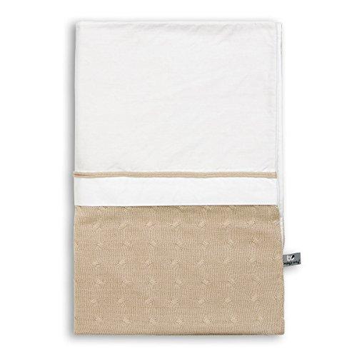 Baby's Only 130912 Kinder Bettwäsche/Bettbezug Zopf Uni gestrickt inklusive Kissenbezug, 100 x 135 cm, beige (Weißen, Italienischen Den Strick-stoff)