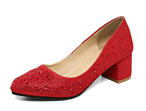 Aisun Damen Fashionable Strass Low Cut Blockabsatz Pumps Rot