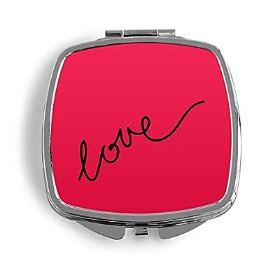 Love Schriftzug Pink Metall Taschenspiegel Kosmetik Beauty Spiegel Klappbar Bedruckt Design Muster Liebe Vintage