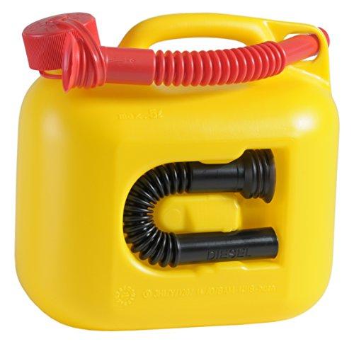 Preisvergleich Produktbild Kraftstoff-Kanister PREMIUM 5l für Benzin, Diesel und andere Gefahrgüter, UN-Zulassung, made in Germany, TÜV-geprüfter Produktion, gelb