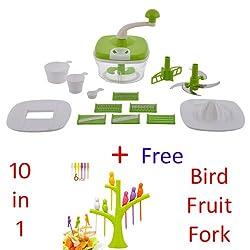 Jony 10_in_1_Green Manual Food Processor (Green) by A TO Z Sales-AZ5021 With Bird Fruit Fork